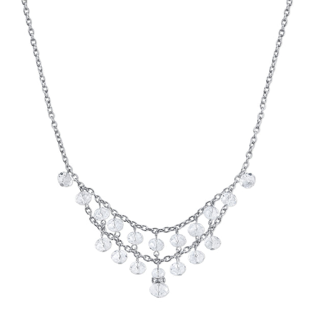 Silver-Tone Crystal 2-Row Beaded Bib Necklace 16 In Adj