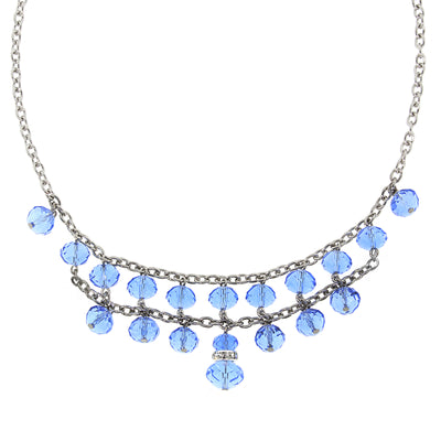 Silver Tone Lt. Sapphire Blue W/ Crystal 2 Row Beaded Necklace 16   19 Inch Adjustable