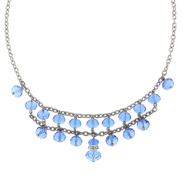 Silver-Tone Lt. Sapphire Blue w/ Crystal 2-Row Beaded Necklace 16 In Adj
