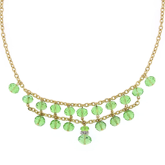 Fashion Jewelry - Gold-Tone Green w/ Crystal 2-Row Beaded Necklace 16