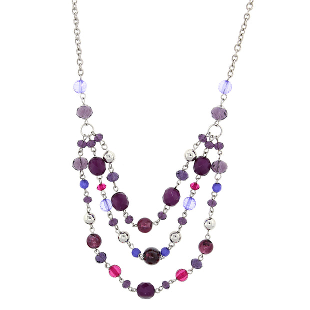 Silver-Tone Purple Tonal Beaded 3-Strand Necklace 16 In Adj