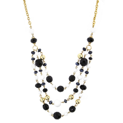 Gold-Tone Black and White Crystal Beaded 3-Strand Necklace 16 In Adj