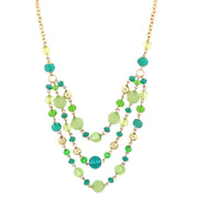 Gold-Tone Crustal Beaded 3-Strand Necklace 16 - 19 Inch Adjustable Green