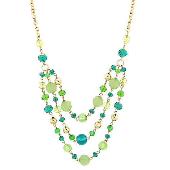 Fashion Jewelry - 2028 Gold-Tone Green Beaded Three Strand Necklace