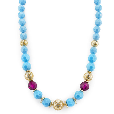 Gold-Tone Turquoise Color And Purple Beaded Strand Necklace 16 - 19 Inch Adjustable