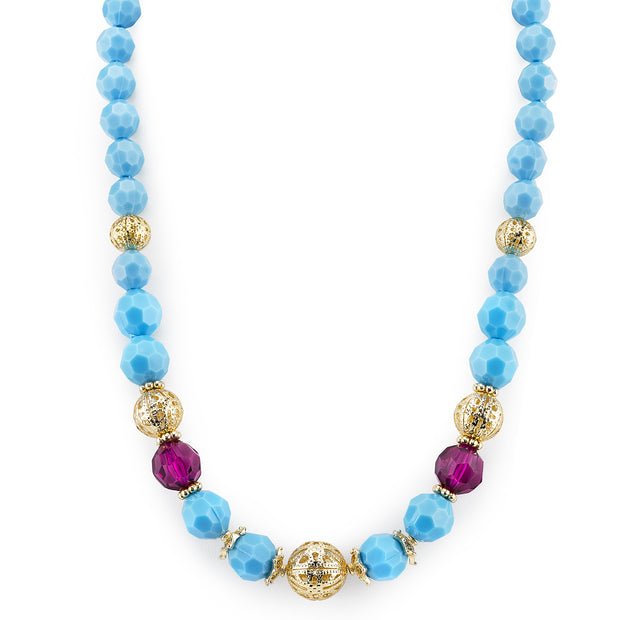 Gold-Tone Turquoise Color and Purple Beaded Strand Necklace 16 In Adj