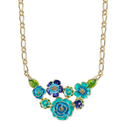 Gold-Tone Turquoise And Green Enamel Flower Bib Necklace 16 - 19 Inch Adjustable
