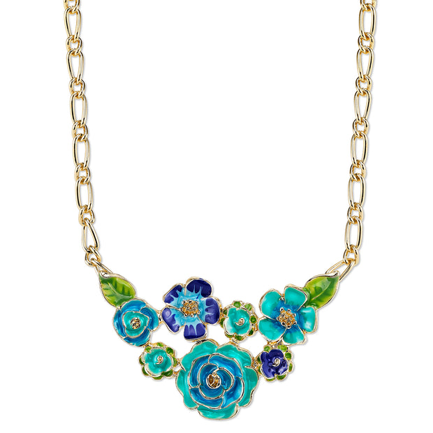 Gold Tone Turquoise And Green Enamel Flower Bib Necklace 16   19 Inch Adjustable
