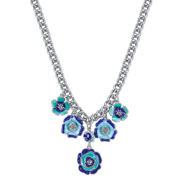 Silver-Tone Blue Enamel Flower Necklace 16 - 19 Inch Adjustable