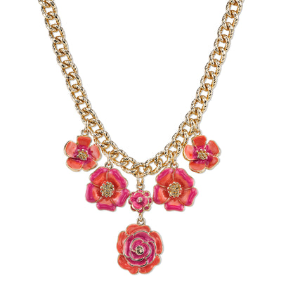 Gold-Tone Coral Enamel Flower Necklace 16 - 19 Inch Adjustable