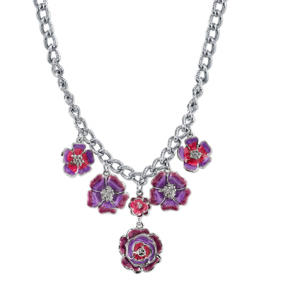 Silver-Tone Purple And Pink Enamel Flower Necklace 16 - 19 Inch Adjustable
