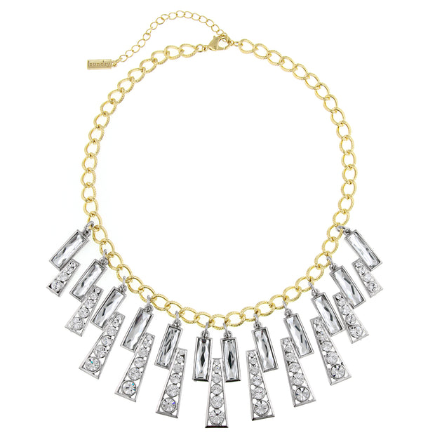 Gold and Silver-Tone Crystal Wide Collar Bib Necklace 16 In Adj
