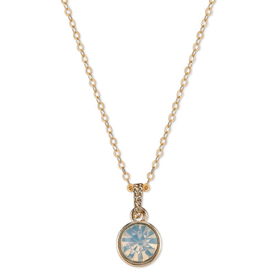 Gold-Tone White Opal Color Glass Classic Pendant Necklace 16 In Adj