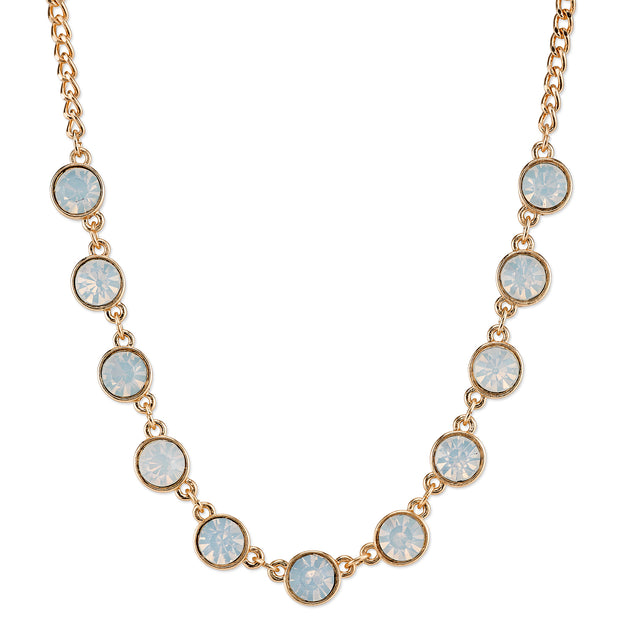 Gold-Tone White Opal Color Glass Strand Necklace 16 - 19 Inch Adjustable