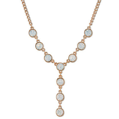 Gold-Tone White Opal Color Glass Y-Necklace 16 In Adj