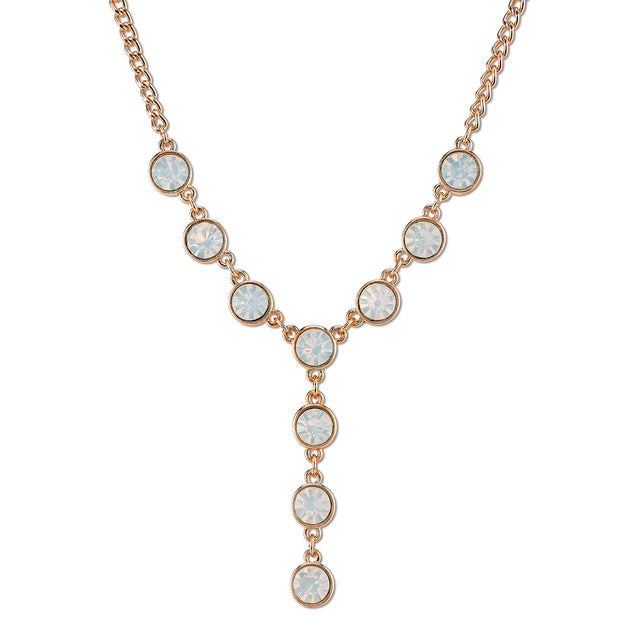 Gold-Tone White Opal Color Glass Y-Necklace 16 - 19 Inch Adjustable