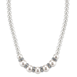 1928 Jewelry: 1928 Jewelry - Silver-Tone White Graduated Simulated Pearl and Crystal Necklace