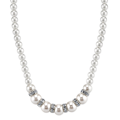 Silver-Tone White Graduated  Costume Pearl and Crystal Necklace 15 In Adj
