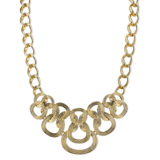 Gold-Tone Ornate Link Statement Necklace 16 - 19 Inch Adjustable