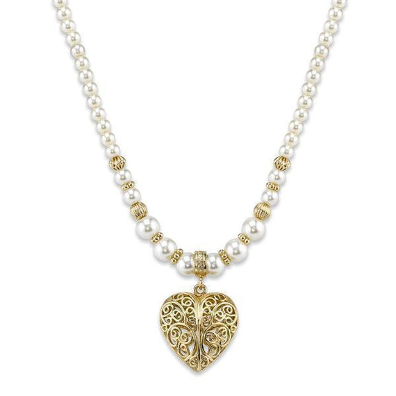 2028 gold tone faux pearl filigree heart pendant necklace aloadofball Gallery