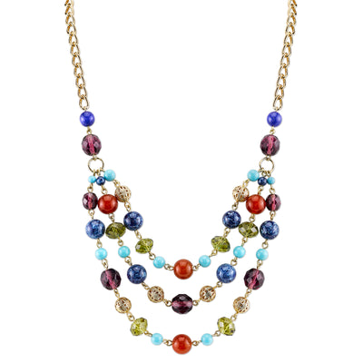 Gold-Tone Multi-Color Triple Strand Beaded Necklace 16 In Adj
