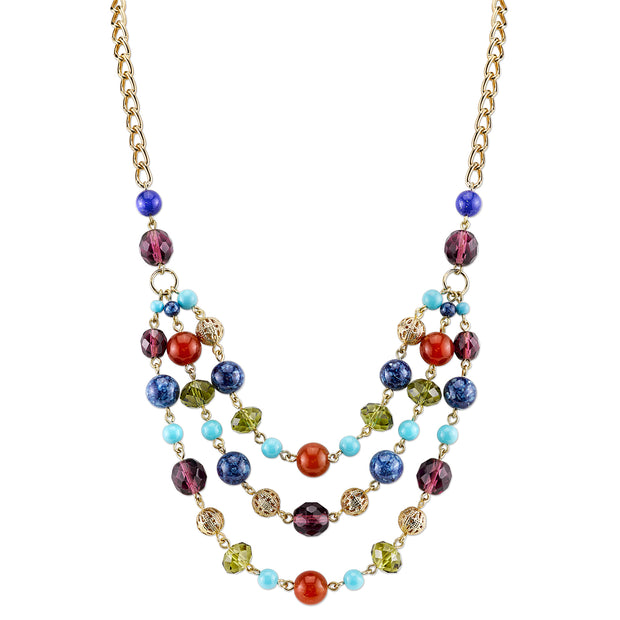 Gold-Tone Multi-Color Triple Strand Beaded Necklace 16 - 19 Inch Adjustable