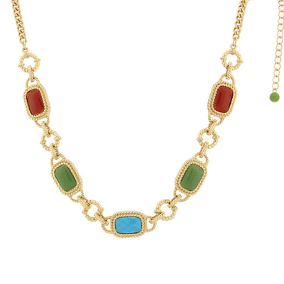 Gold-Tone Multi-Color Link Collar Necklace 16 - 19 Inch Adjustable