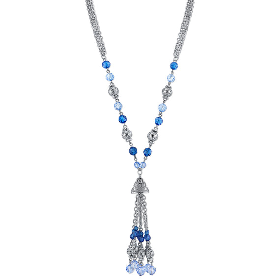 Fashion Jewelry - 2028 Silver Tone Blue Beaded Tassel Pendant Necklace