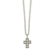 Silver Tone And Crystal Cross Necklace 16   19 Inch Adjustable