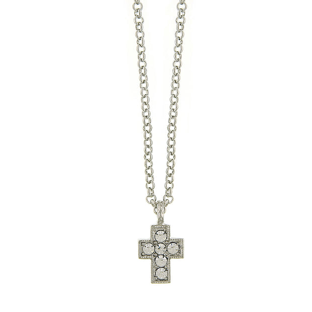 Silver-Tone And Crystal Cross Necklace 16 - 19 Inch Adjustable