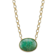 2028 Gold-Tone Gemstone Oval Stone Necklace 16 In Adj