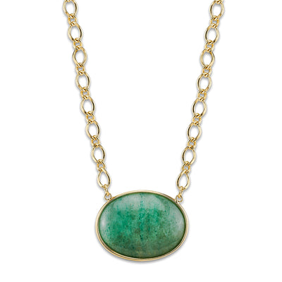 Gold-Tone Green Aventurine Gemstone Oval Stone Necklace 16 In Adj