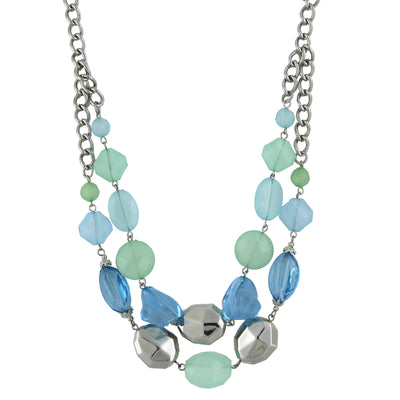 Silver-Tone Aqua and Mint Green Faceted Beaded 2-Row Necklace 18 In Adj