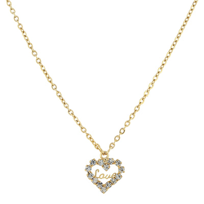14K Gold Dipped Crystal Accented  Love  Heart Pendant Necklace 16 - 19 Inch Adjustable