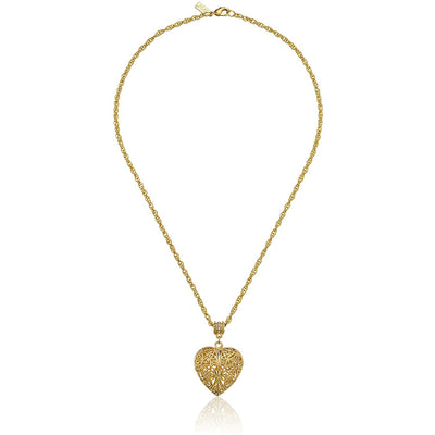 14K Gold-Dipped Filigree Heart W/ Swarovski Crystal Accent Necklace 18 In