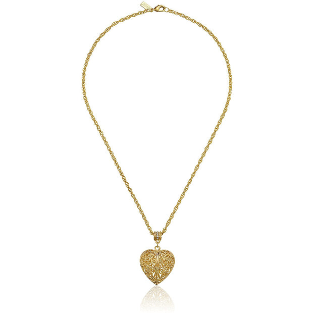 1928 Jewelry 14K Gold-Dipped Filigree Heart With Swarovski Crystal Accent Necklace 18 Inches