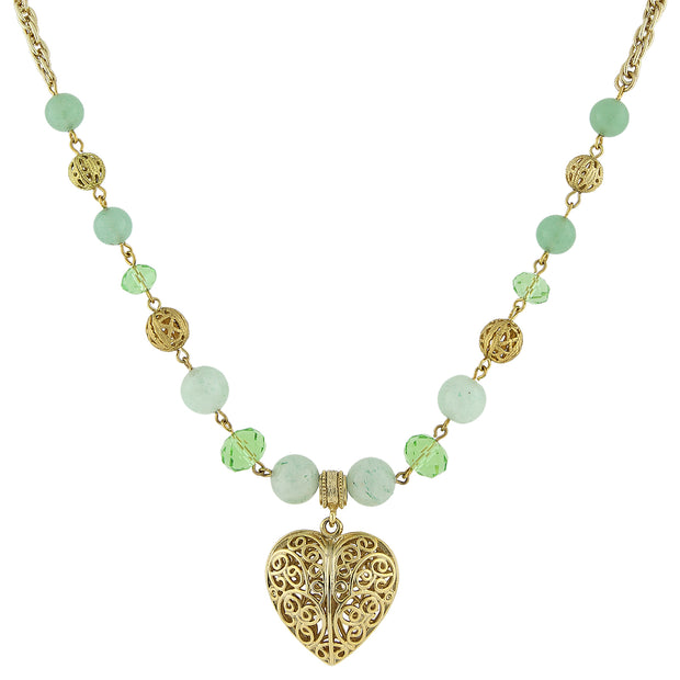Gold Tone Gemstone Filigree Heart Pendant Necklace 16   19 Inch Adjustable Green Aventurine