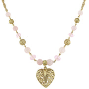 Gold-Tone Gemstone Filigree Heart Pendant Necklace 16 - 19 Inch Adjustable