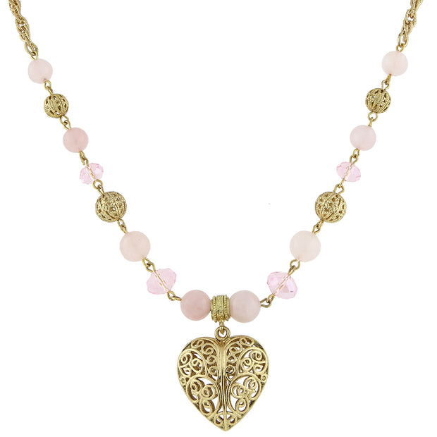 Gold Tone Gemstone Filigree Heart Pendant Necklace 16   19 Inch Adjustable