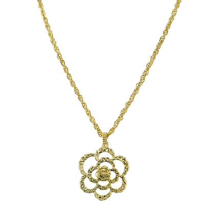 Gold-Tone Hammered Flower Pendant Necklace 16 - 19 Inch Adjustable