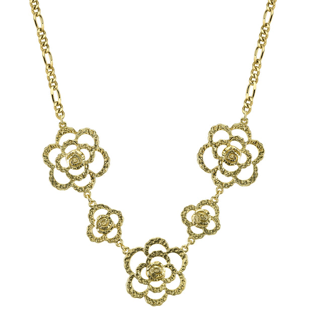 Gold-Tone Hammered Flower Necklace 18 In