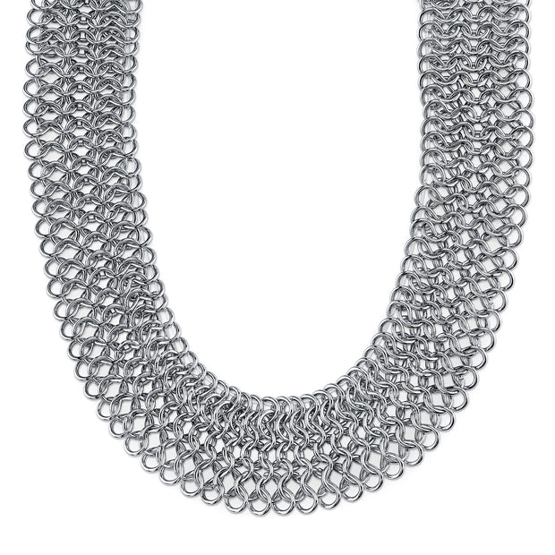 Silver-Tone Chain Collar Necklace 18 In Adj