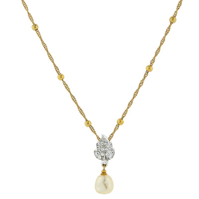 Gold Tone And Silver Tone Crystal Baroque Costume Pearl Drop Necklace 18 In