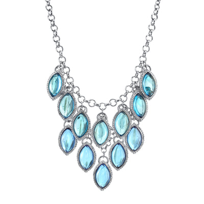Silver-Tone Tonal Blue Navette Bib Necklace 16 In Adj
