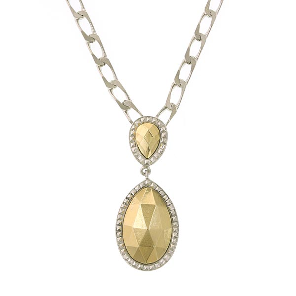 Silver Tone Gold Teardrop Pendant Necklace 16   19 Inch Adjustable