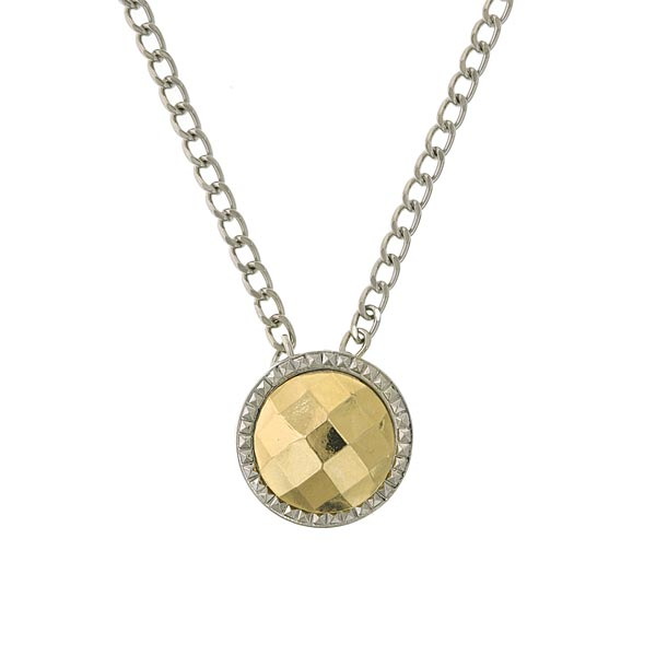 Silver-Tone and Gold-Tone Round Pendant Necklace 16 In Adj