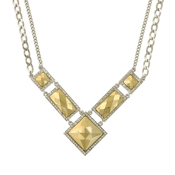 Silver- Tone Gold Tone Chevron Collar Necklace 16 In Adj