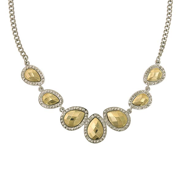 Silver-Tone and Gold-Tone Teardrop Collar Necklace 16 In Adj