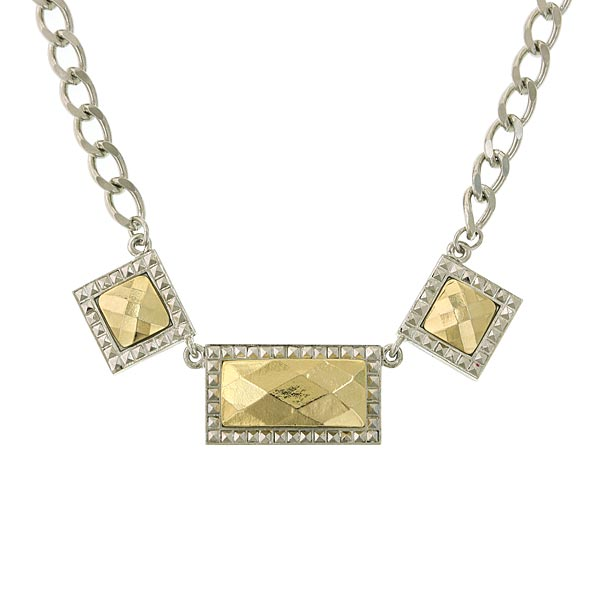 Silver-Tone 3 Horizontal Gold-Tone Stone Necklace 16 In Adj