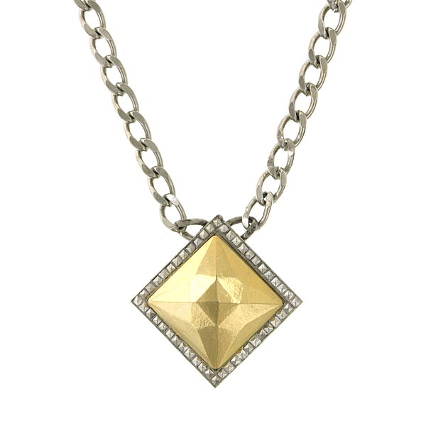 Silver-Tone and Gold-Tone Square Pendant Necklace 16 In Adj
